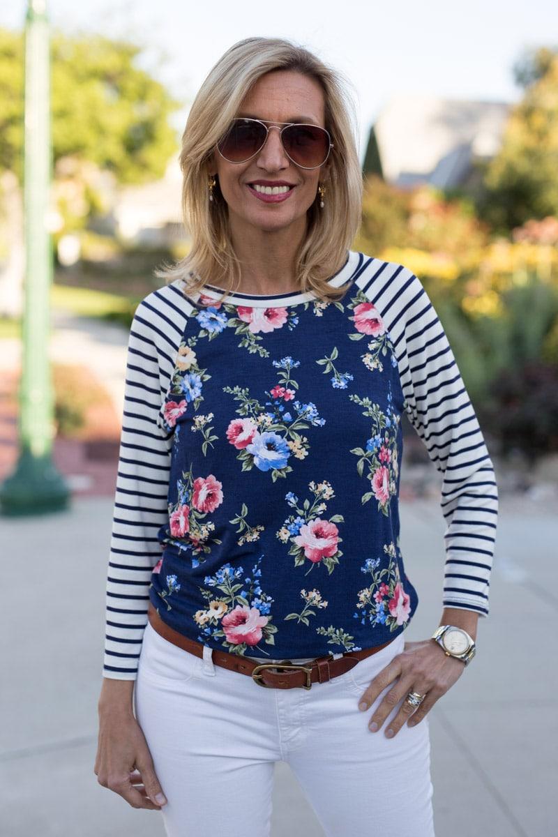 Ivory-Navy-Pink-Floral-Stripe-T-Shirt