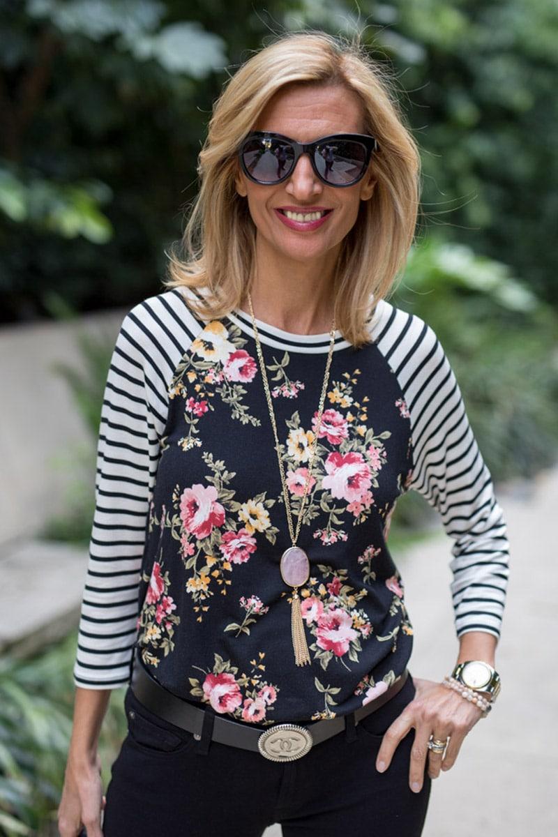 Ivory-black-pink-floral-strip-T-shirt