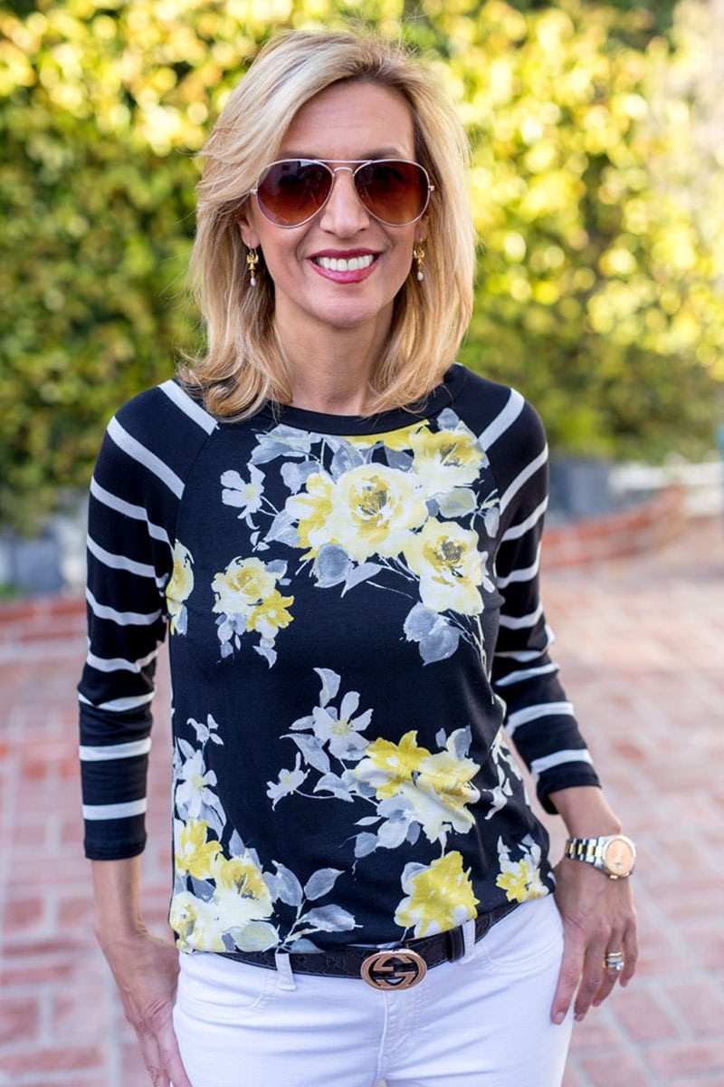 floral-print-t-shirt-with-stripe-sleeves