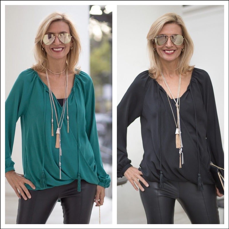 Teal-and-Black-Crossover-Blouson-Tops