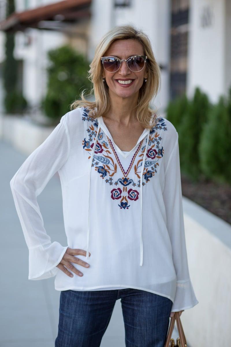 White-V-Neck-Embroidered-Top