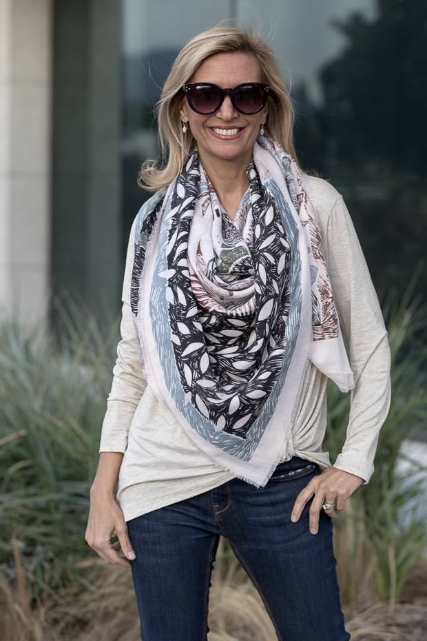sienna long chenille cardigan styled with oatmeal Modal side twist top and scarf