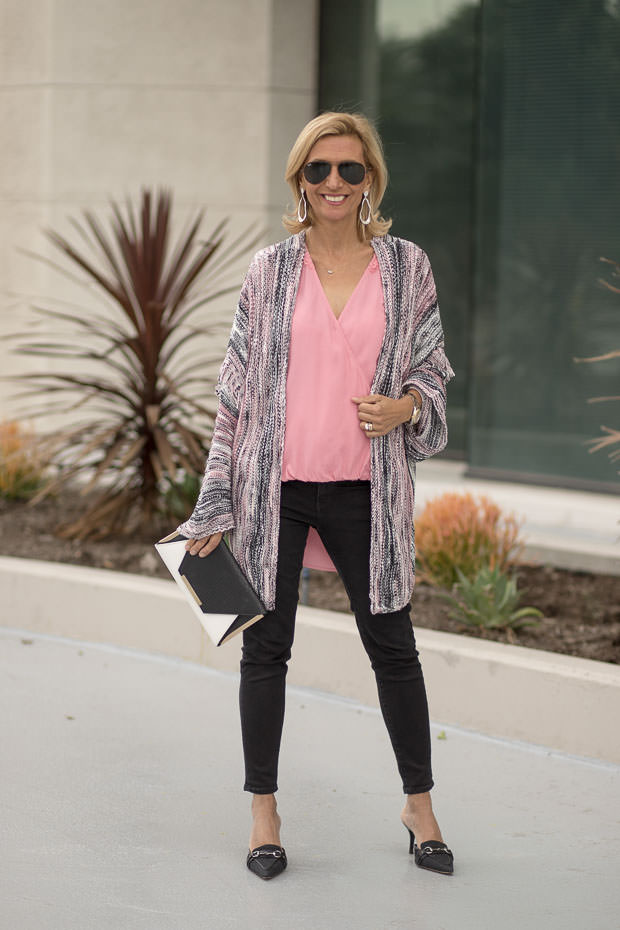 womens Pink Crossover Blouson and Long Cardigan