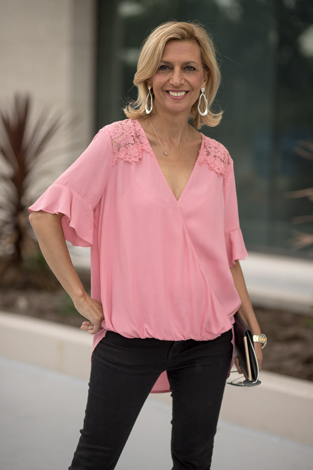womens Pink Crossover Blouson Blouse with lace trim