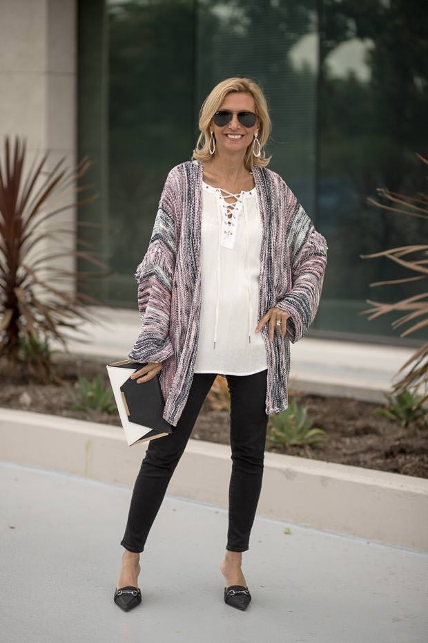 Ivory Lace Up Blouse for women with pink gray black cardigan