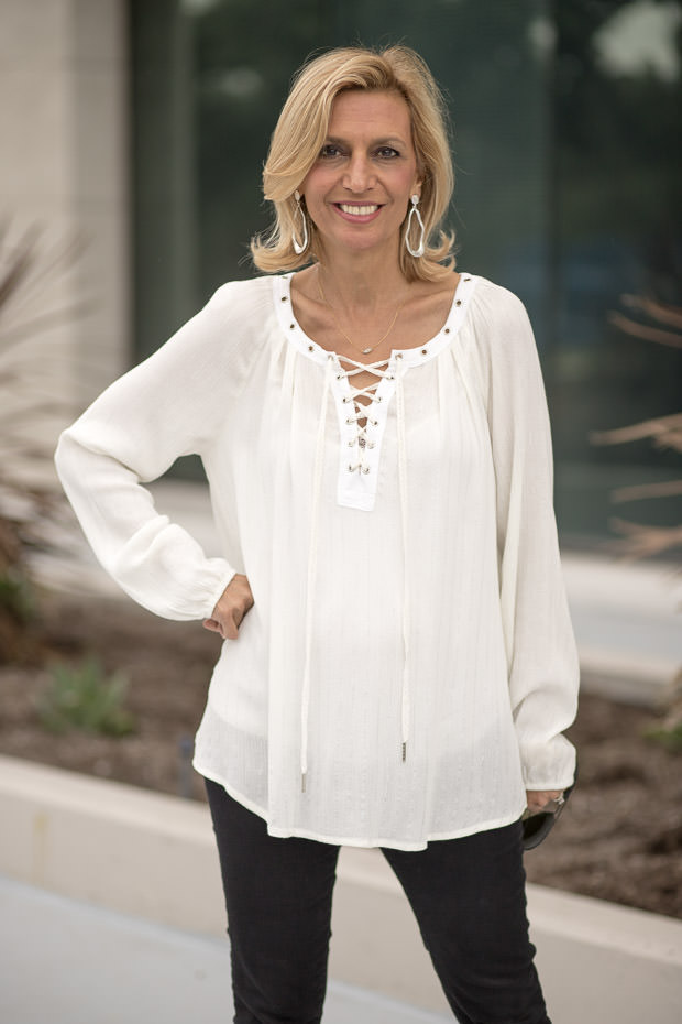 Ivory Lace Up Blouse for women with metallic silver stripes