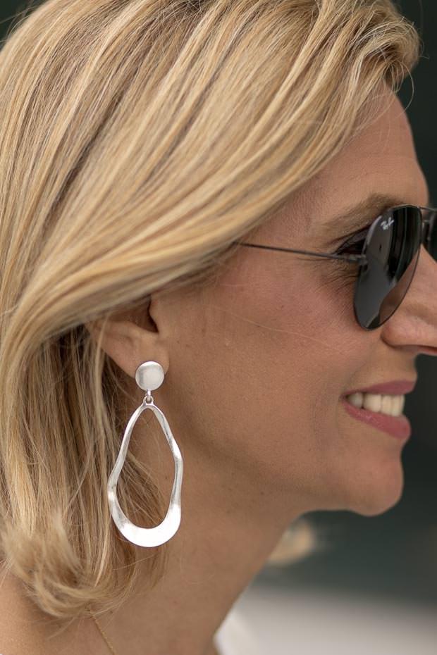 Silver Oval Shape Hoop earrings for women