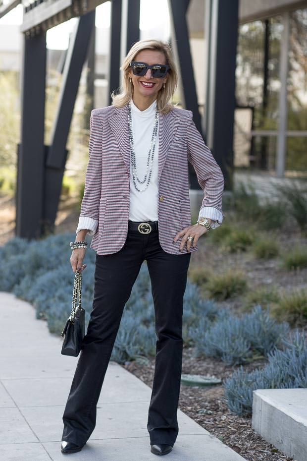 red ivory and black houndstooth blazer for women worn with ivory mock neck top