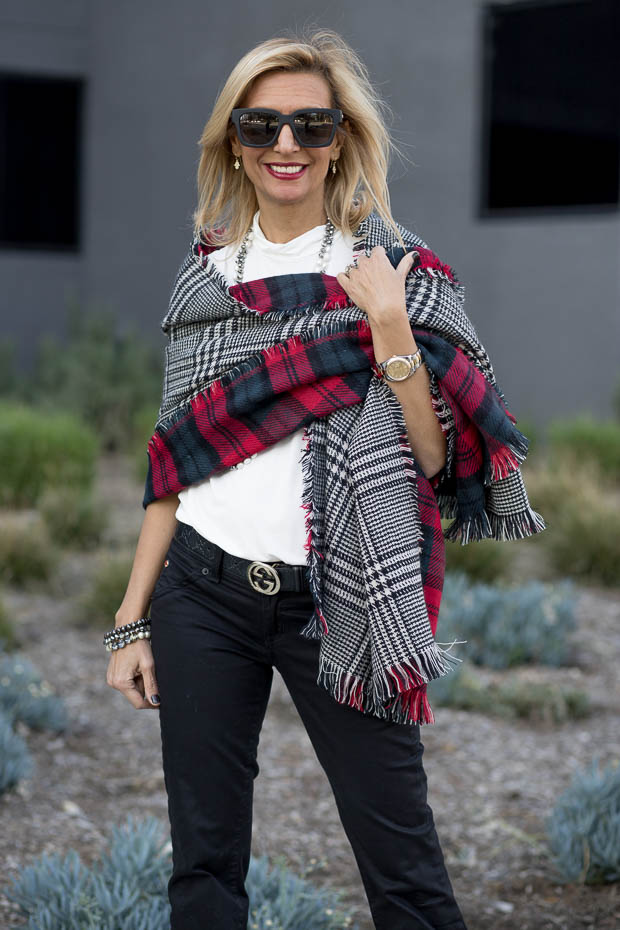 Ivory Mock Neck Top for women worn with reversible houndstooth and plaid shawl