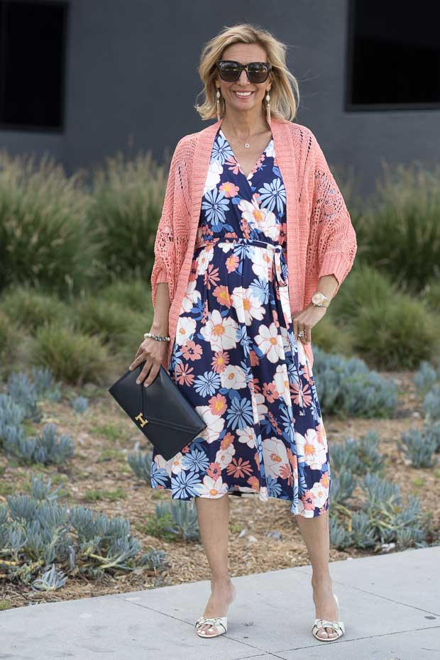 Navy Blue and Coral Floral Print Dress With Coral Peach Crochet Cardigan