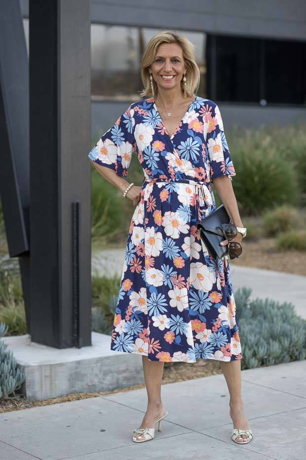 Navy Blue and Coral Floral Print Wrap Jersey Dress