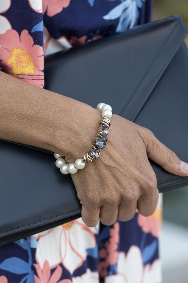 Pearl and Gunmetal Crystal Bead Bracelet
