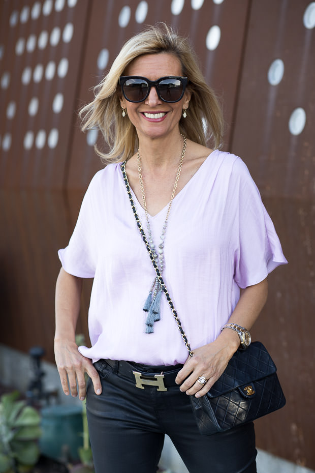 Lilac V Neck Blouse with pleated sleeves for women