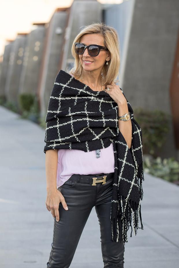 black and ivory plaid wrap shawl