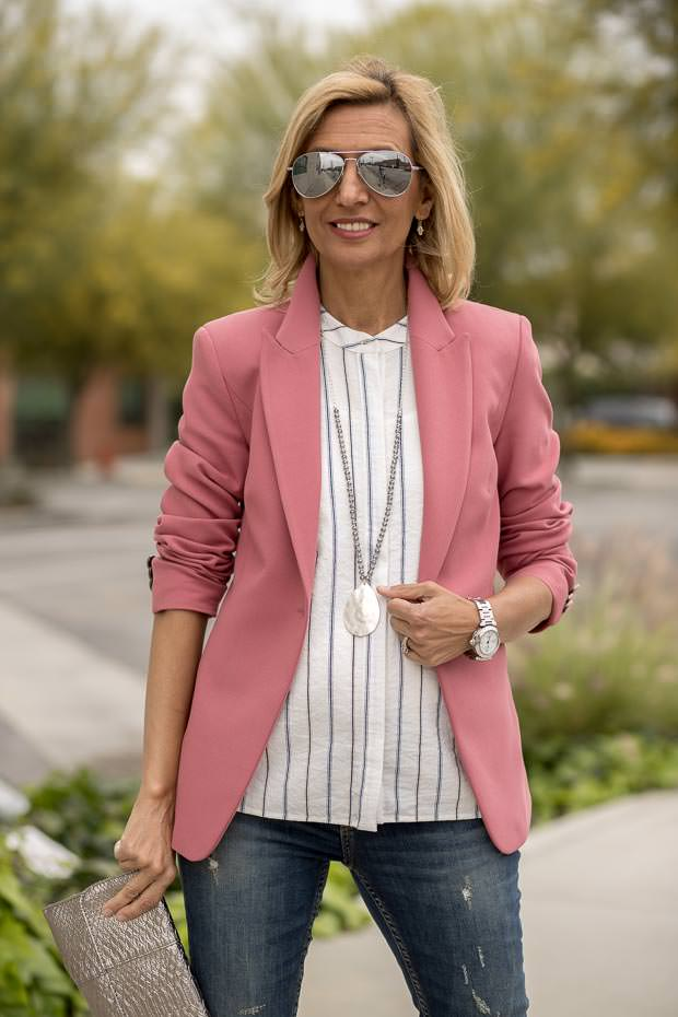 stunning womens classic blazer in a rose color
