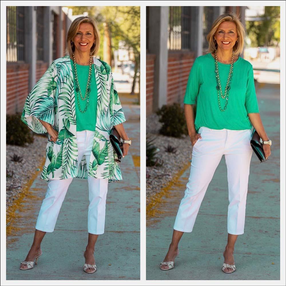 tropical green print kimono cardigan for women