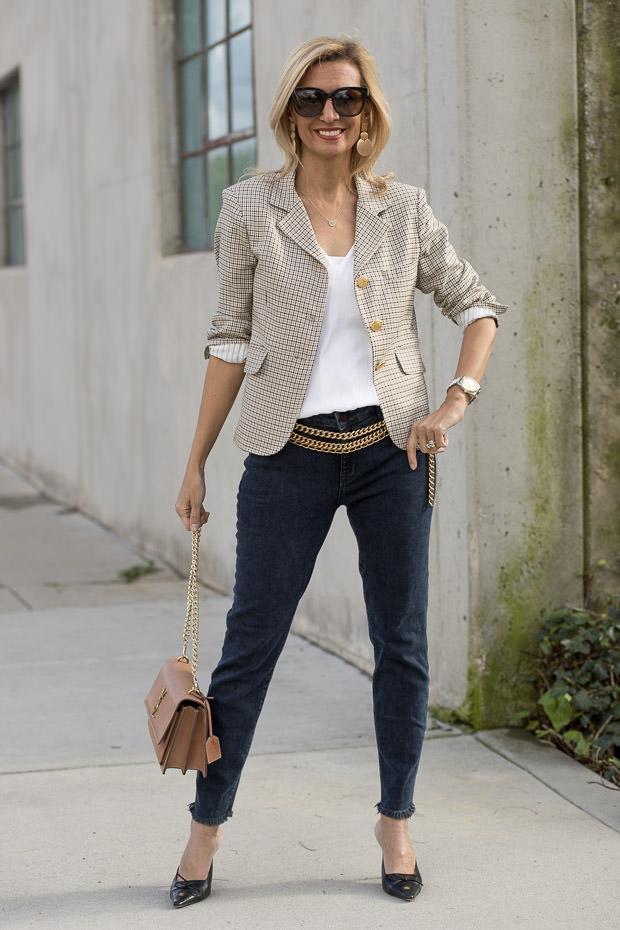 Womens Houndstooth Blazer with Parker Smith Skinny Crop Zinc Jeans