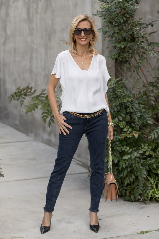 White V Neck Blouse with Parker Smith Crop Jeans