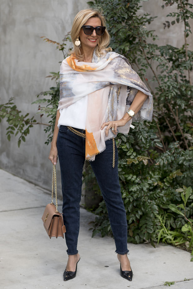 Gray Orange Black and Gold Abstract Print Scarf