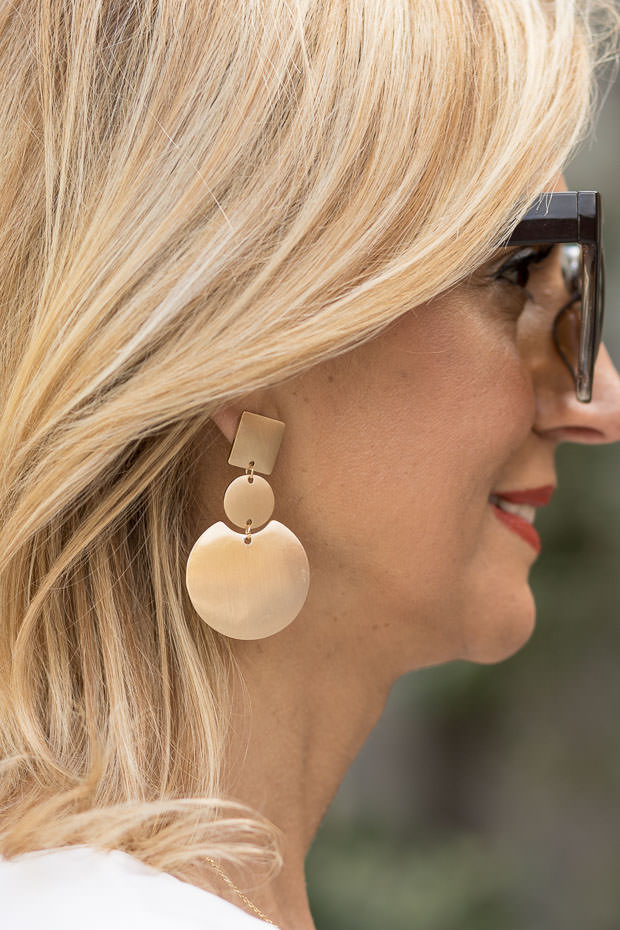 Matt Gold Geometric Shape Earring Set