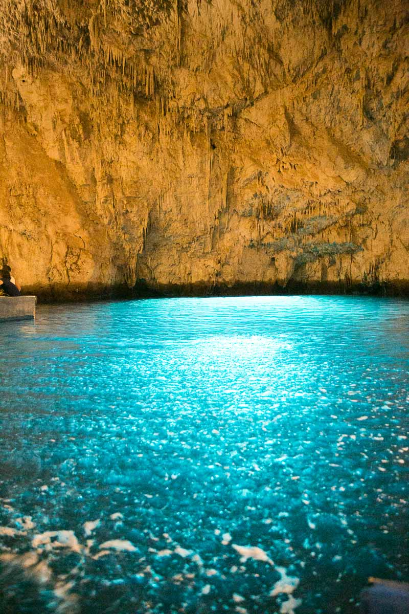 The Emerald Grotto - The Sun Light Comes Through From A Tunnel That Leads Out To The Sea