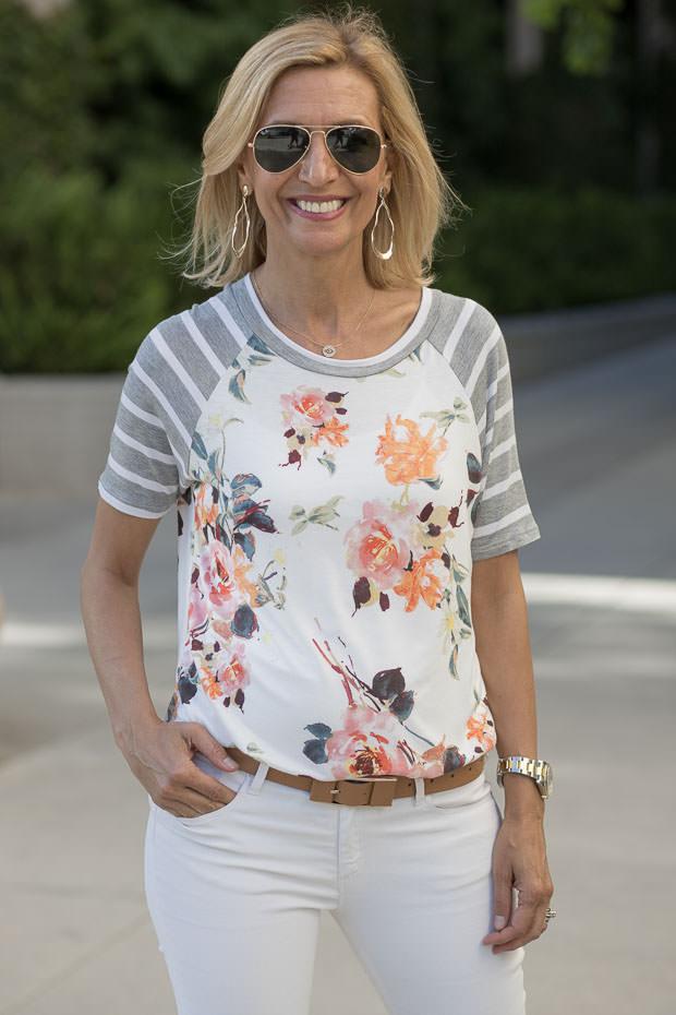 womens Ivory Gray orange short sleeve floral stripe T shirt