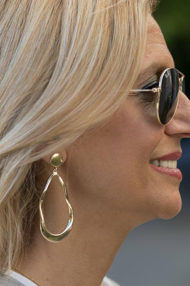 Gold tone Oval shape hoop earrings