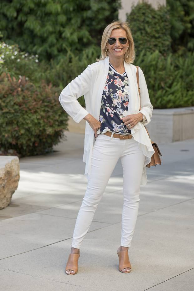 White Cascading collar jacket with lace trim