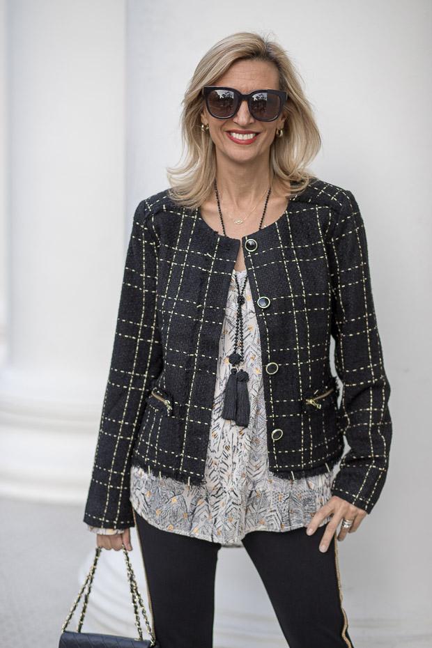 Black Gold Plaid Short Jacket With Fringe