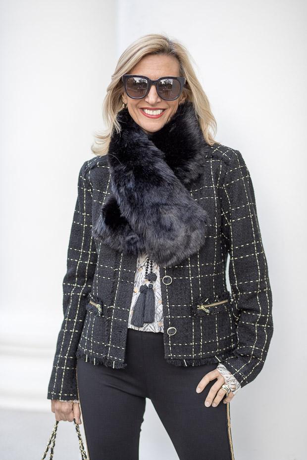 Black Gold Plaid Short Jacket With Fringe And Black Faux Fur Stole