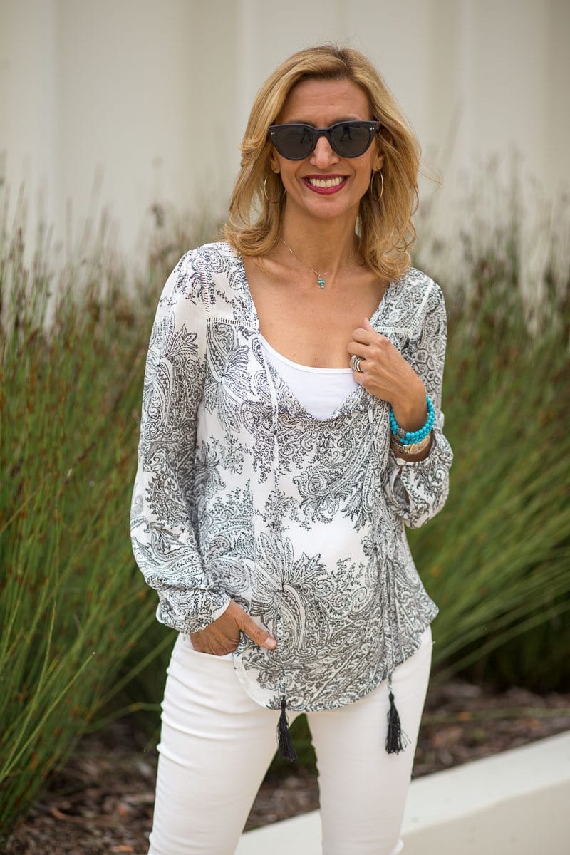 Gypsy style womens blouse in white with a black paisley print