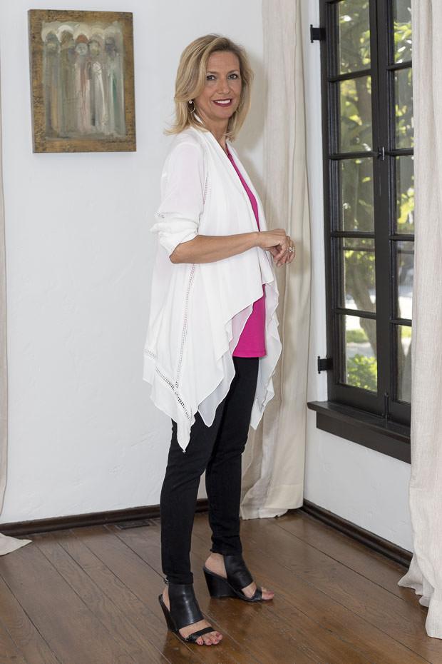 White Cascading Collar Jacket For Women