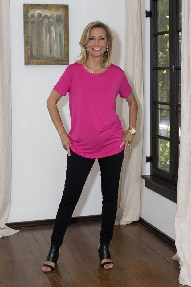 Womens Fuschia Round Neck Short Sleeve Top