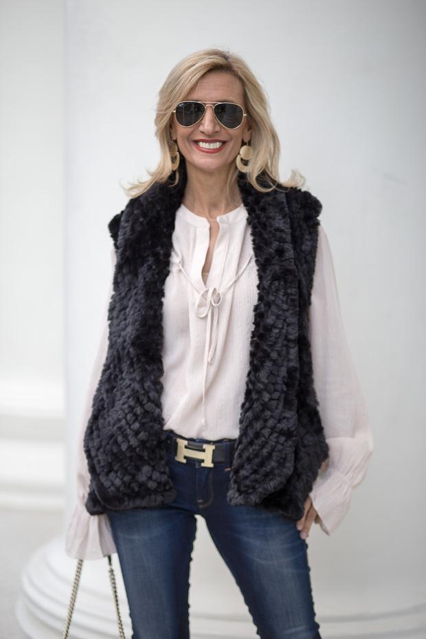 Black Faux Fur Vest With Metallic Stripe Nude Blouse