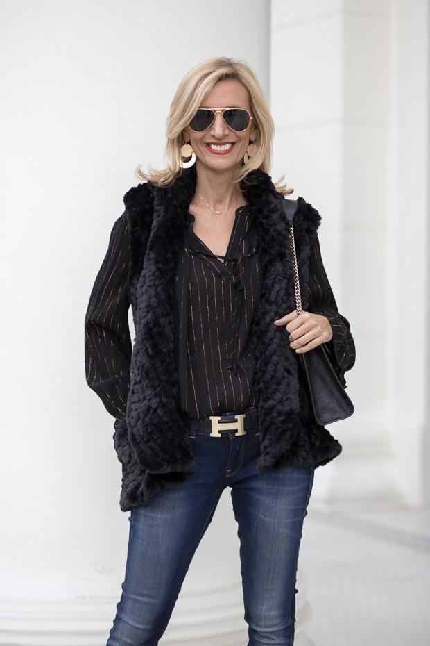 Black Faux Fur Vest With Metallic Stripe Black Blouse