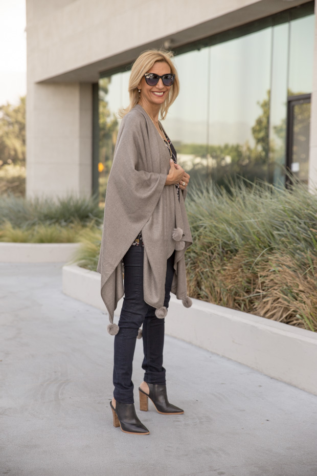 womens stone colored poncho side view