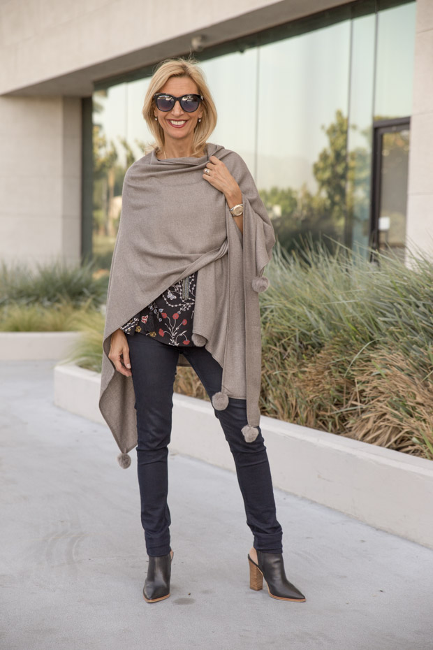 womens stone colored poncho wrapped