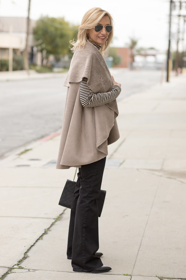 Taupe and Black Faux Suede Cape Vest