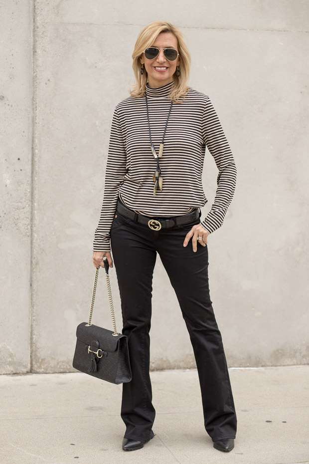 Taupe and Black Stripe Mock Neck Top For Women
