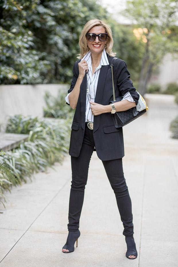 Black Shawl Collar Blazer With Black and White stripe blouse
