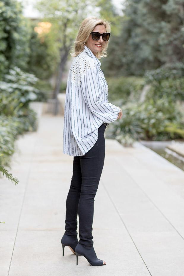 black and white stripe shirt with eyelet lace yoke