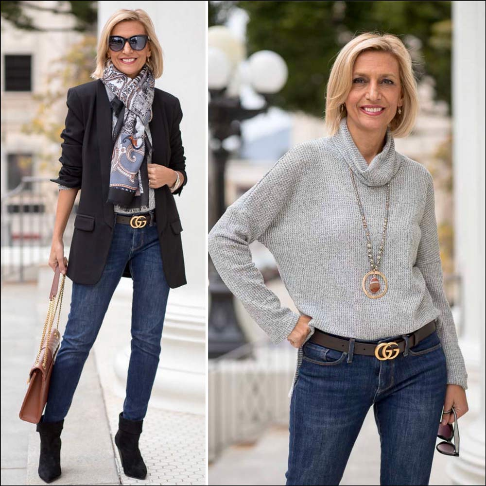 womens jeans and black blazer outfit for the holidays