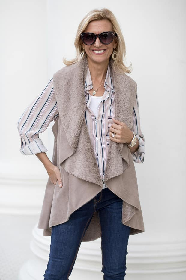 Two More Colors In Our Faux Suede And Shearling Cape Vests For Fall