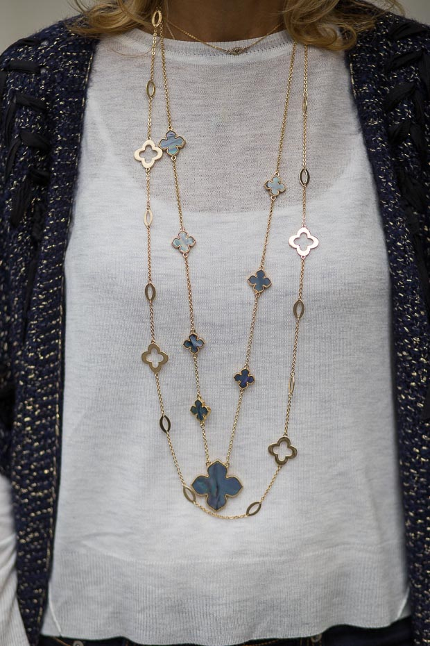 Gold And Blue Clover Shell Necklace