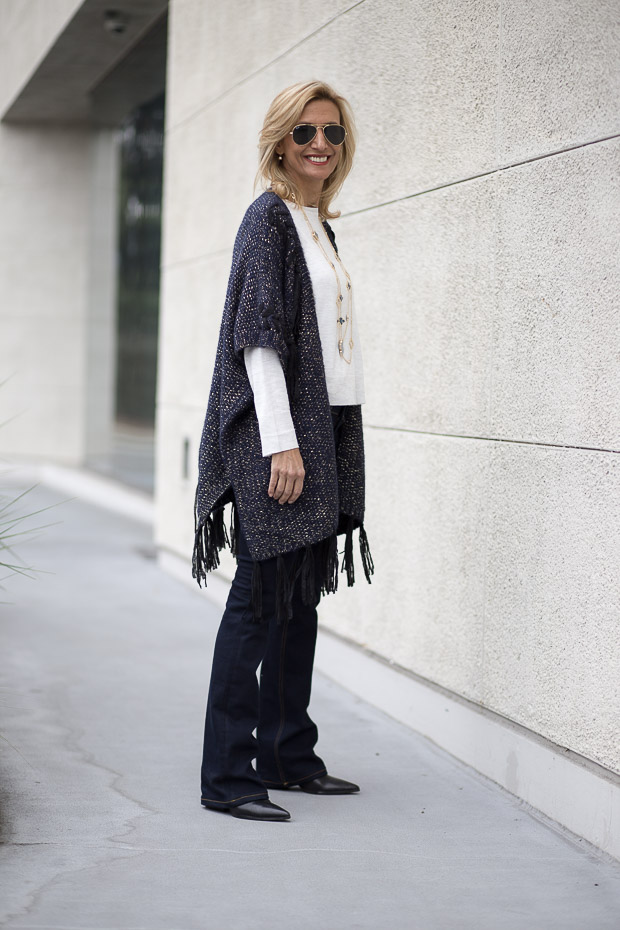 Navy and Gold Cardigan With Fringe