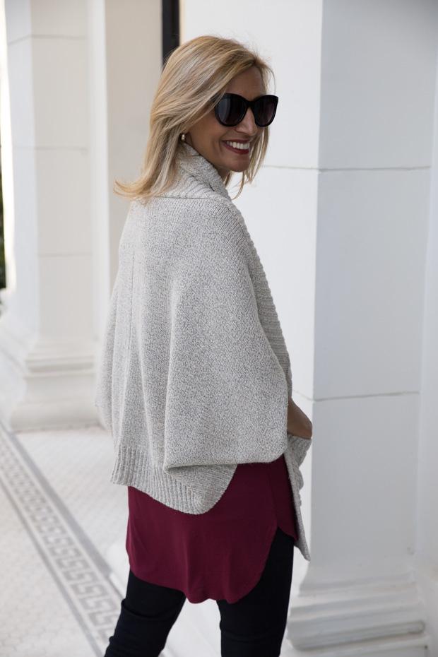 Beige knit shrug sweater rear view