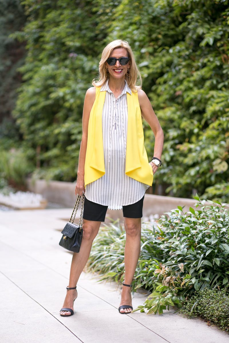 Canary Yellow Vest And Stripe Lace Up Tunic-Jacket-society-4982