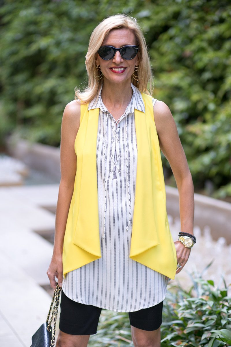 Canary Yellow Vest And Stripe Lace Up Tunic-Jacket-society-4985