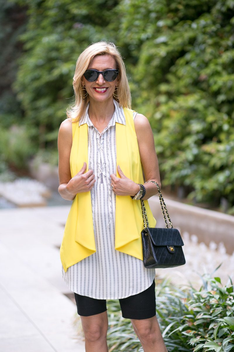 Canary Yellow Vest And Stripe Lace Up Tunic-Jacket-society-4986