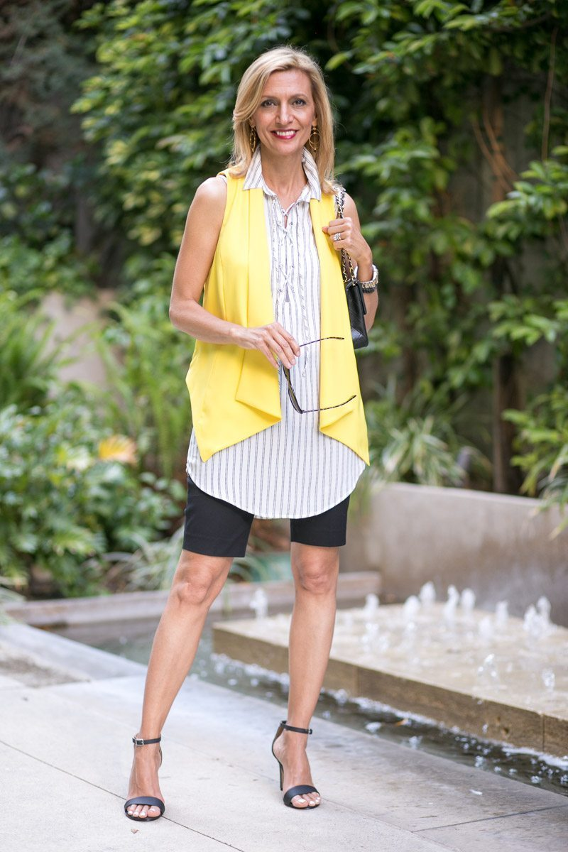 Canary Yellow Vest And Stripe Lace Up Tunic-Jacket-society-5002